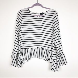 A.N.A Striped Peplum Blouse